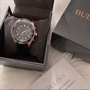 BULOVA Sport Chronograph Black Dial Black Rubber
